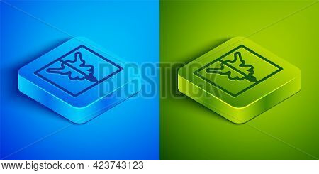 Isometric Line Rorschach Test Icon Isolated On Blue And Green Background. Psycho Diagnostic Inkblot
