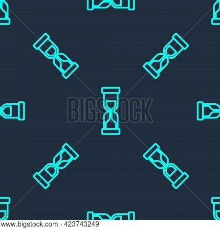Green Line Old Hourglass With Flowing Sand Icon Isolated Seamless Pattern On Blue Background. Sand C
