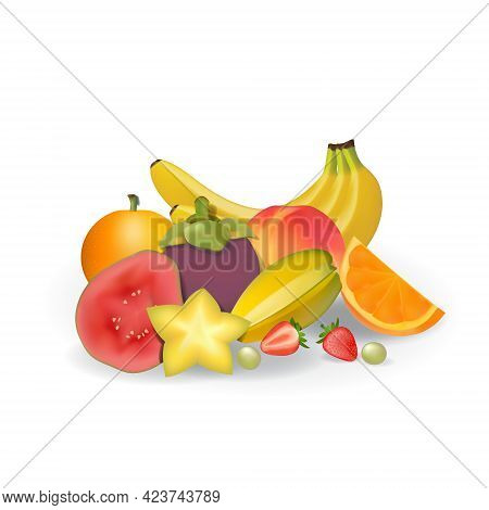 Realistic Natural Fresh Fruits On White Summer Isolated Vector Illustration 04