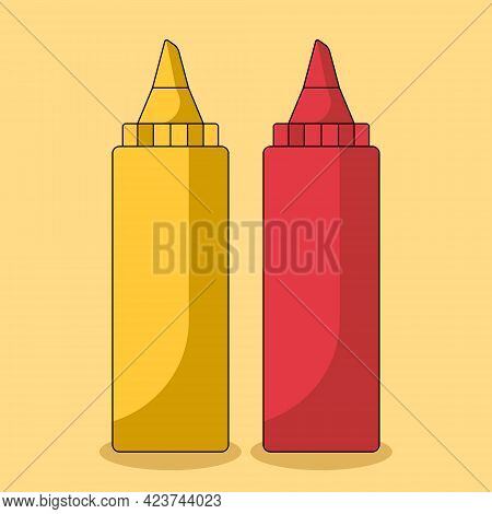 Vector Illustration Of Ketchup And Mustard Bottles Isolated On Yellow Background. Set Of Sauces For