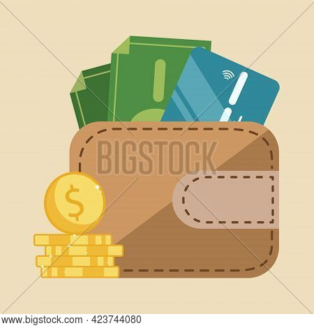 Gold Coins Near The Brown Wallet With Green Cash And Credit Card. Home Budget, Cash Back Concept Ill