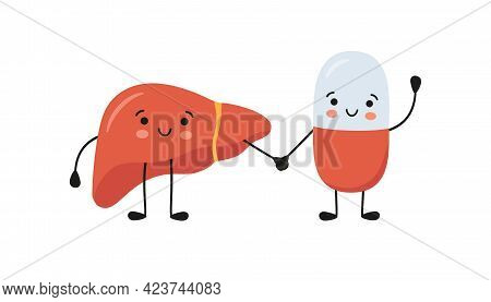 Healthy Liver And Happy Smiling Medicine Pill Characters Hold Hands. Kawaii Medicine Capsule And Cut