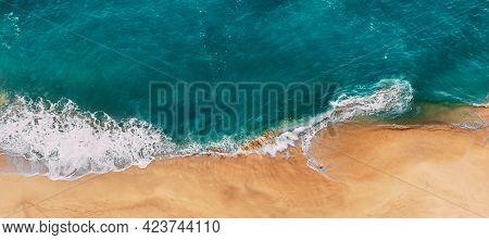 Panorama Of A Clean Sandy Beach. Panorama Of The Beautiful Sea Coast. Panorama Of The Sea Landscape.