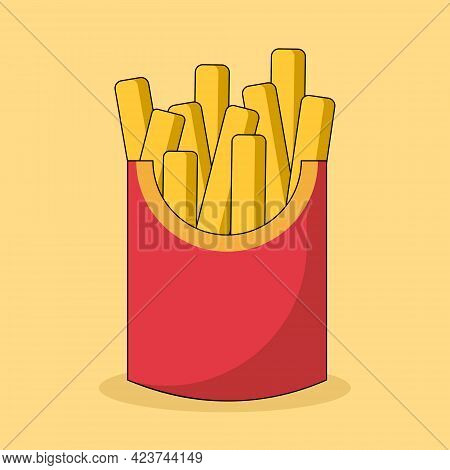Fried French Fries In A Red Box Vector Cartoon Illustration Isolated On Yellow Background. Concept O