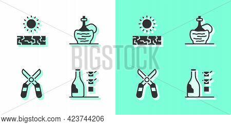 Set Bottle Of Wine, Drought, Gardening Scissors And Wine Italian Fiasco Bottle Icon. Vector