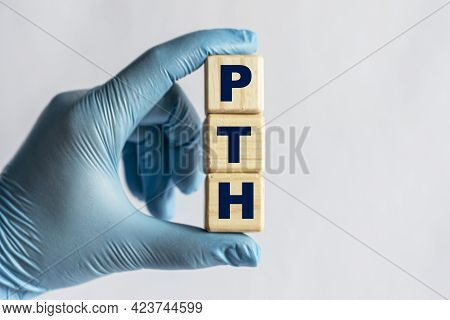 Pth (parathyroid Hormone) Is An Acronym On Cubes Held By A Hand In A Blue Glove. Medical Concept.