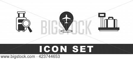 Set Lost Baggage, Plane And Scale With Suitcase Icon. Vector