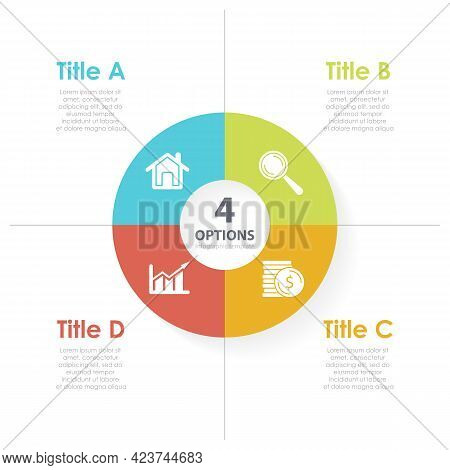 Vector Circle Chart Infographic Template For Round Round Diagram, Graph And Web Design. Business Con