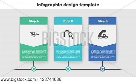 Set Plane, Lost Baggage And Passenger Ladder For Plane Boarding. Business Infographic Template. Vect
