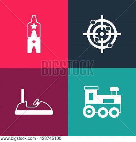 Set Pop Art Toy Train, Bumper Car, Target Sport And Circus Ticket Icon. Vector