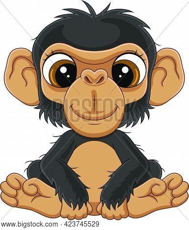 Vector Illustration Of Cartoon Cute Baby Chimpanzee Sitting