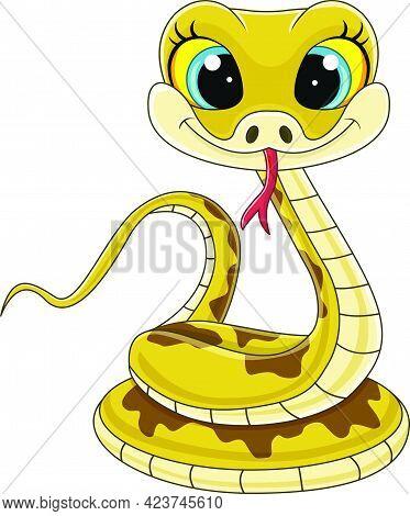 Vector Illustration Of Cartoon Cute Baby Snake Sitting