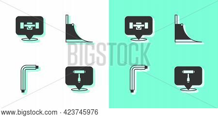 Set Skateboard T Tool, Wheel, Tool Allen Keys And Park Icon. Vector