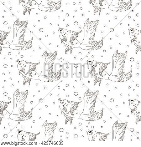 Line Art Goldfish Seamless Pattern. Hand Drawn Gold Fish With Air Bubbles Background. Repeated Vecto