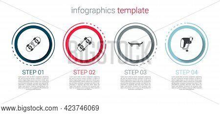 Set Broken Skateboard, Skateboard, And Helmet. Business Infographic Template. Vector