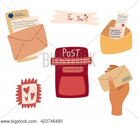 Set Of Mail Items. Postal Service. Letter Box, Postal Envelopes And Letters Stamps, Hand With Envelo