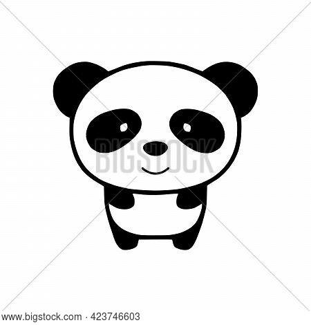 Panda Silhouette Cartoon Character Vector Illustration On White Background Cute Panda.