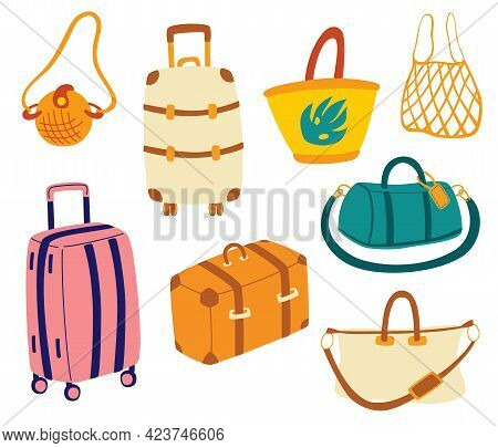 Bags Set. Tourist Travel Suitcases, Travel Bags, Luggage, Bags For Business Trips, Holidays, Leisure