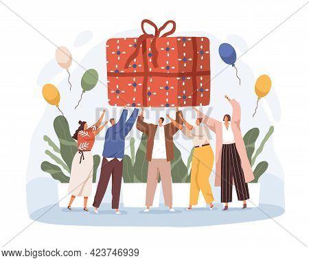 Happy People Holding Big Wrapped Birthday Gift. Joyful Men And Women With Huge Giftbox. Anniversary