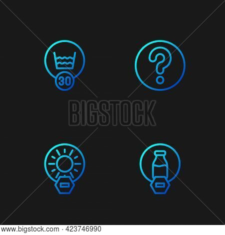 Set Line Lactose Free, No Direct Sunlight, Temperature Wash And Unknown Search. Gradient Color Icons