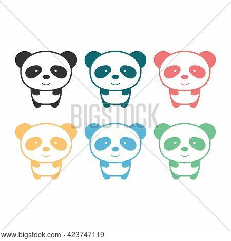 Colored Panda Silhouette Cartoon Character Vector Illustration On White Background Cute Panda.