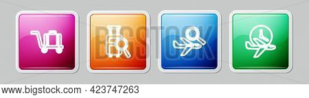 Set Line Trolley Baggage, Lost, Airplane Search And Flight Time. Colorful Square Button. Vector