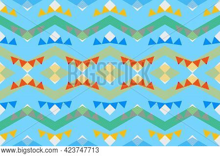 Geometric Green Shape And Yellow Color Bohemian Fabric Pattern, Design Cloth Of Indian Style. Tribal