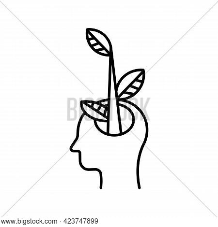 Open Human Head In Profile Icon. Creative Mind. A Tree From The Head. Business Growth Concept. Thoug