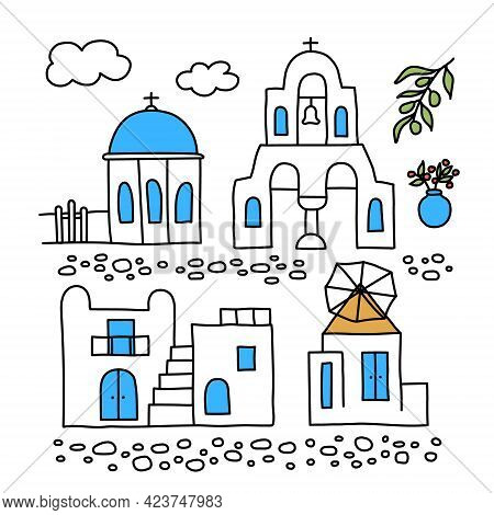 Santorini. Greece. Buildings Of Traditional Architecture. Traditional Greek White Houses With Blue R
