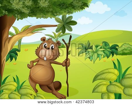 Illustration of a beaver in the hills