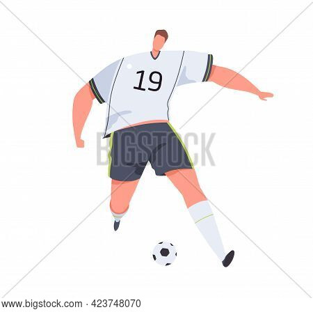 Soccer Player Running With Ball Forward And Dribbling. Professional Sportsman In Uniform Playing Eur