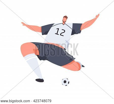Athlete Playing Football, Hitting Ball. Abstract Soccer Player Making Strong Kick With Foot With Run