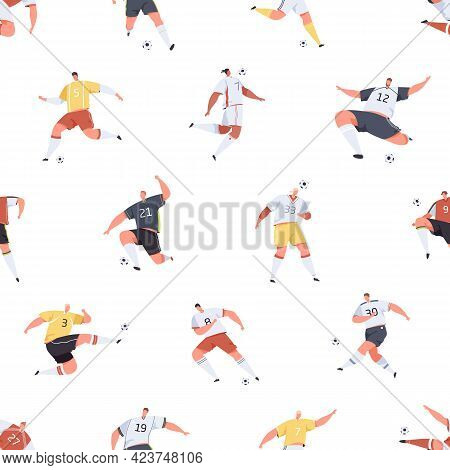 Seamless Pattern With Footballers Playing Soccer On White Background. Endless Repeating Texture Desi