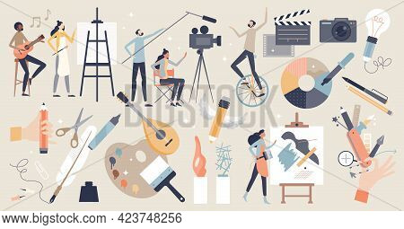 Arts Set As Professional Creative Entertainment Theme Items Tiny Person Concept. Isolated Elements W