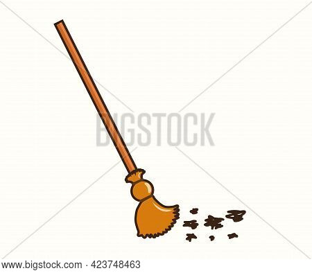 Broom And Rubbish On A White Background. Cartoon. Vector Illustration.
