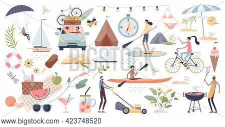 Summer Set With Hot Weather Or Holiday Season Elements Tiny Person Collection Set. Beach Vacation An