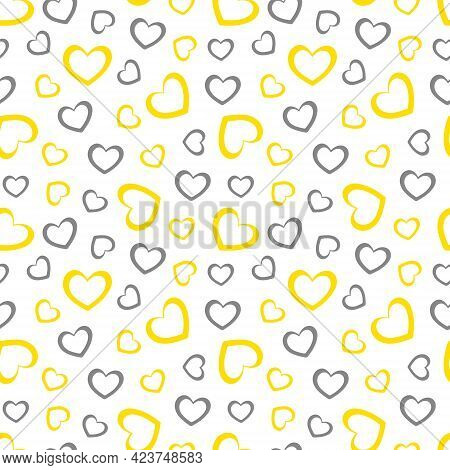 Illuminating Yellow And Ultimate Gray Seamless Hearts Pattern, Vector Illustration. Geometric Seamle