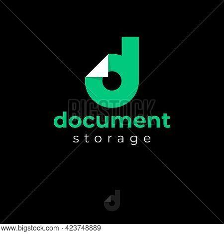 Document Logo. Green D Monogram. Letter D With Bended Corner Like Document Blank.
