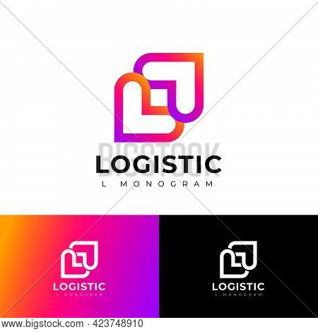 L Letters. Delivery Logo. L And L Monogram With Arrow On Different Backgrounds.
