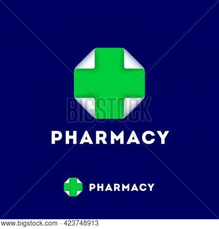 Pharmacy Logo. Medicine Cross Like Square Paper Leaf With Bended Corners.