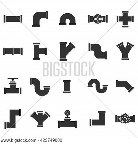 Set Of Plumbing Pipe Hardware Icon. Construction Connection Technical Pressure Plumbing Systems. Sil
