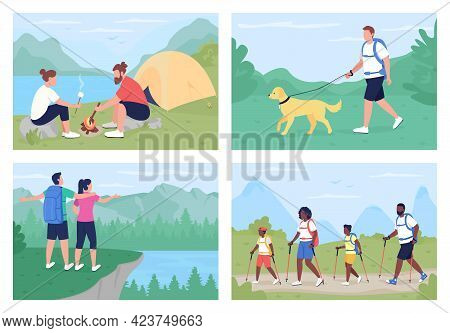 Leisure Activity Outdoors Flat Color Vector Illustration Set. Walking On Trails, Resting In Nature.