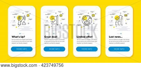 Vector Set Of Electronic Thermometer, Exit And Magistrates Court Line Icons Set. Ui Phone App Screen