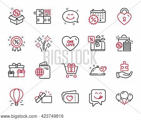 Vector Set Of Holidays Icons Related To Calendar Discounts, Yummy Smile And Travel Loan Icons. Shopp