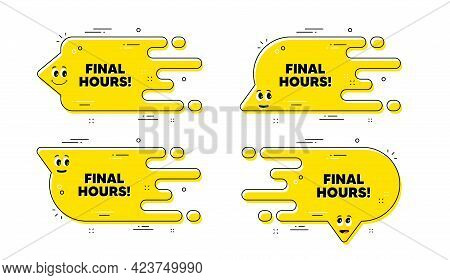 Final Hours Sale. Cartoon Face Transition Chat Bubble. Special Offer Price Sign. Advertising Discoun