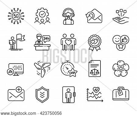 Vector Set Of Leadership, Consolidation And Wind Energy Line Icons Set. Like, Cardio Training And Ne