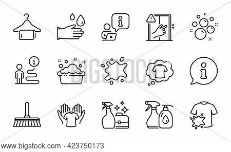 Cleaning Icons Set. Included Icon As T-shirt, Clean Bubbles, Dirty T-shirt Signs. Rubber Gloves, Han