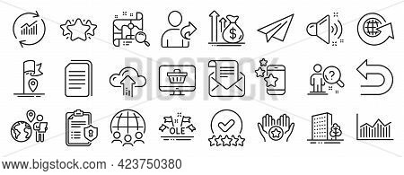 Set Of Business Icons, Such As Best App, Paper Plane, Rating Stars Icons. Mail Newsletter, Cloud Upl