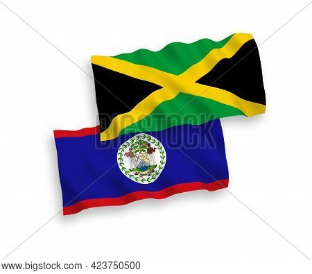 National Fabric Wave Flags Of Belize And Jamaica Isolated On White Background. 1 To 2 Proportion.