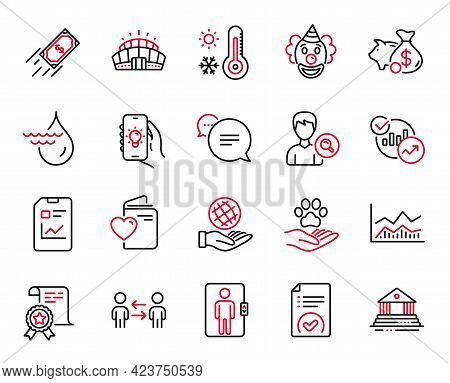 Vector Set Of Business Icons Related To Approved Document, Trade Infochart And Fast Payment Icons. C